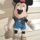"Rare Minnie Mouse Blue Overalls Plush Talking Doll Disney 12"" inch Lace Trim"