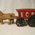 Vintage Cast Iron Tan Horse Pulling Red Ice Cart Wagon Stage Coach Black Wheels