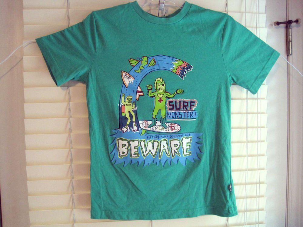 Boys Green SHAUN WHITE Surf Monster on Skateboard T-Shirt Tee Large L