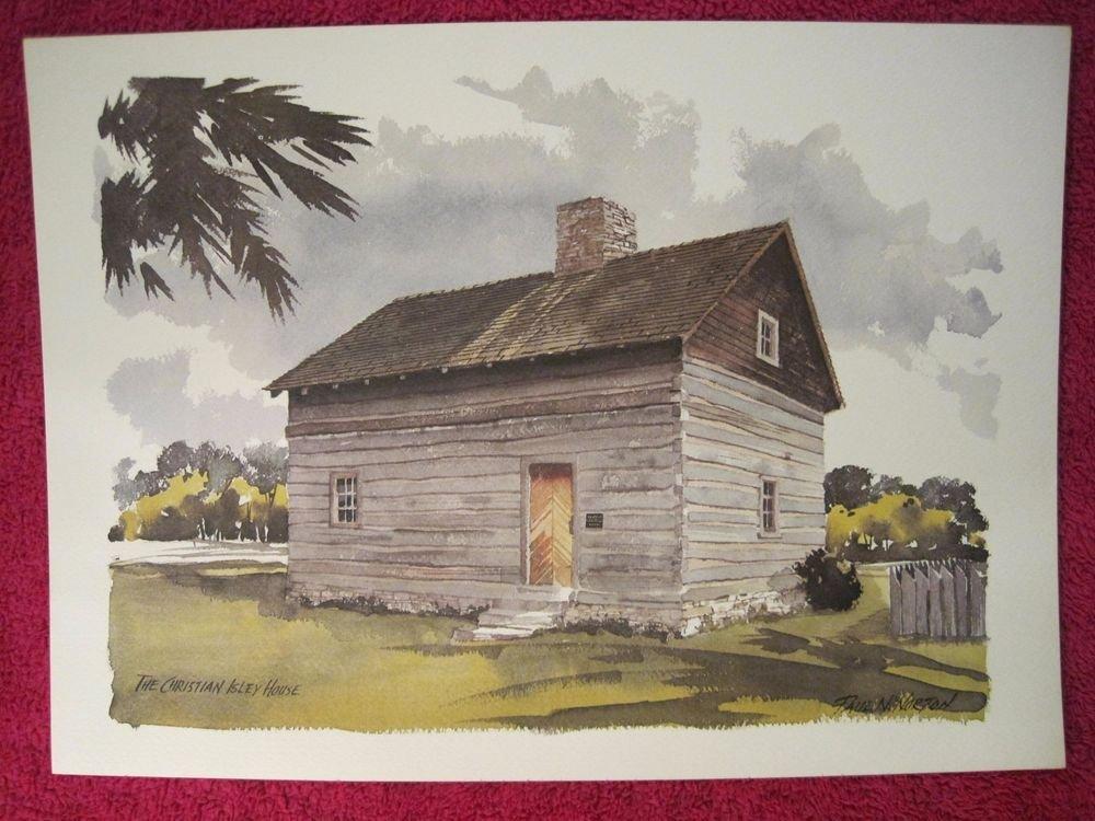 "Paul N Norton Watercolor Print Christian Isley House 12"" x 17"""
