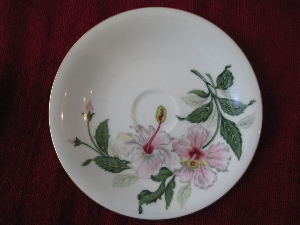 Yamaka China Pink Hibiscus Occupied Japan Plate Dish Saucer