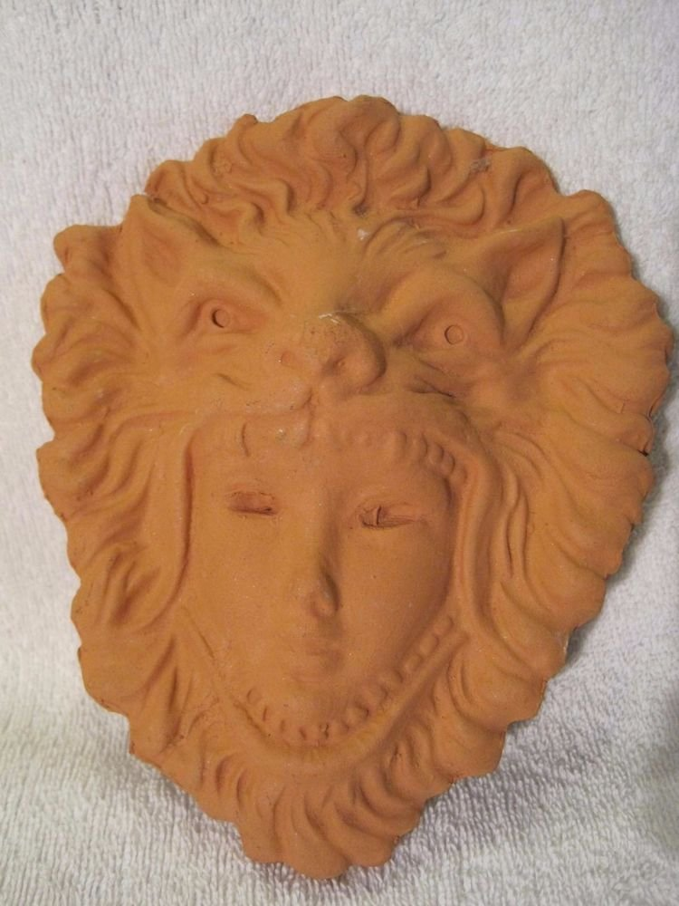 Vintage Cameo Mask of Lion Roman Head Helm Pottery Symbol Wall Hanging Plaque