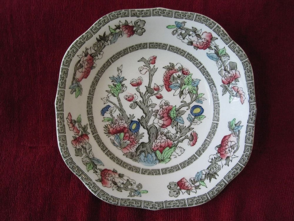 Johnson Brothers Indian Tree Green Key Cream Square Cereal Soup Bowl