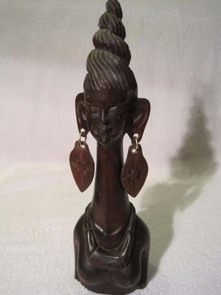 "African Carved Elongated Neck Woman Topless Figure Sculpture Long Giraffe 12"" in"