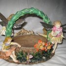 Fairies Magical Garden Basket Flower Blossoms Pixie Metal Wings Fairy