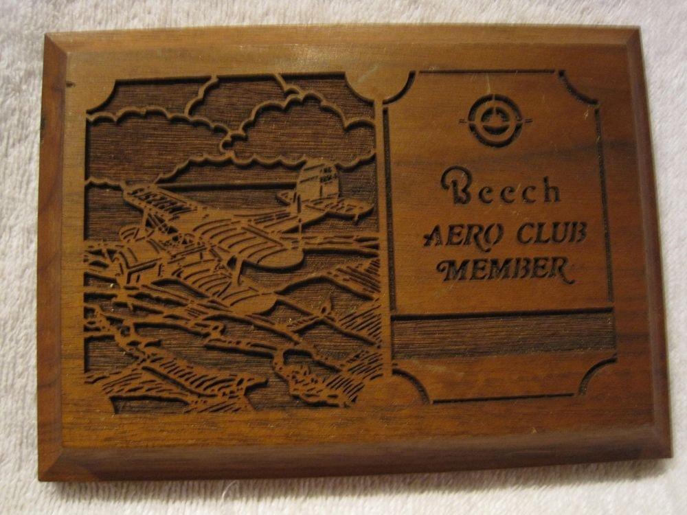 Vintage Beech Aero Club Lasercraft Walnut Wood Plaque Engraved Laser Etched