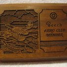 Vintage Beech Aero Club Lasercraft Walnut Wood Plaque Engraved Laser Etched
