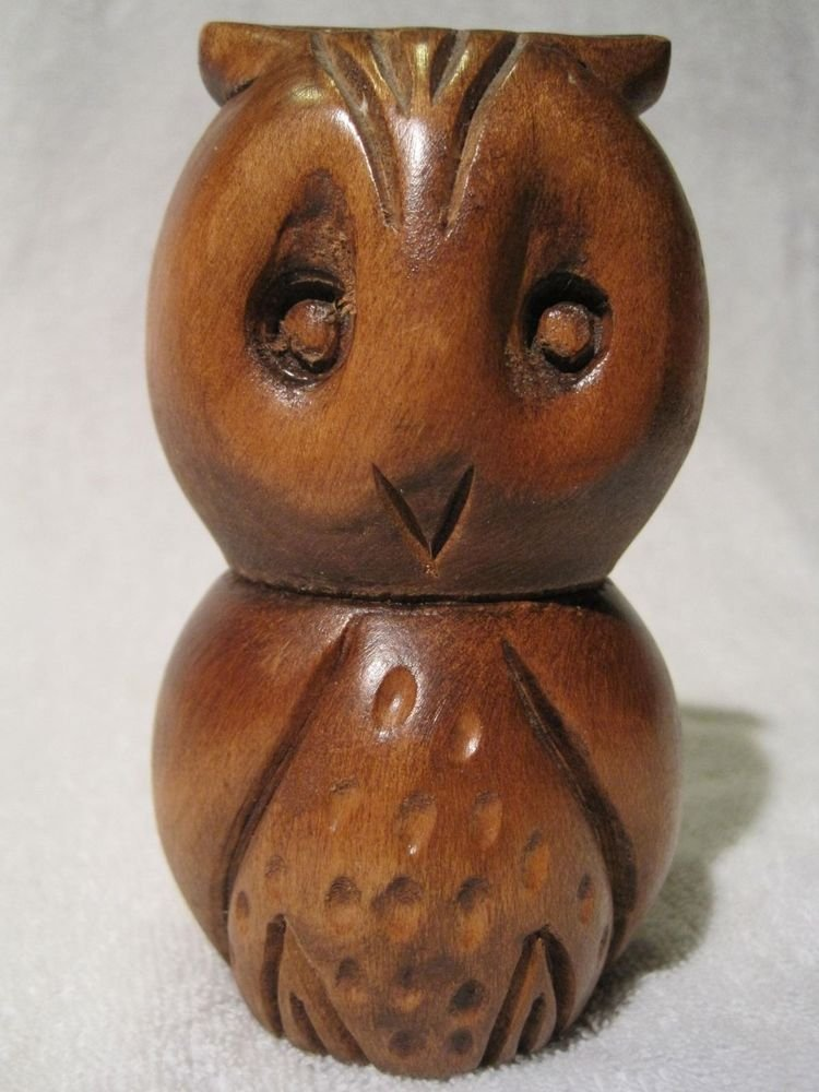"Hand Carved Solid Wood Owl Figure Statue Figurine Carving 5"" inches"