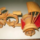 Vintage Bamboo Bicycle Rickshaw Handmade Chinese Culm Dragon Head Painted