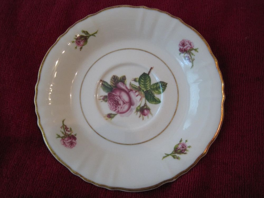 Syracuse Victoria Federal Shape Saucer Pink Roses Gold Trim