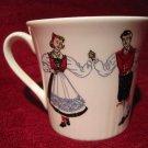 Tea Cup Figgjo Norway Design 1057 Red/Blue Hardanger Folk Dancers Teacup