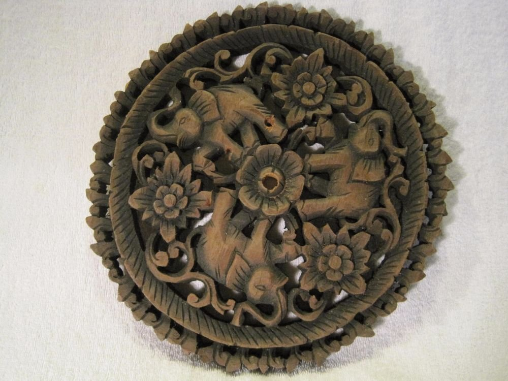 Thai Elephant Wood Carved Relief Panel Thailand Oriental Asian Sculpture
