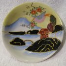 Plate Saucer Dish Handpainted Mt Fuji Water Landscape Raised Paint Japan