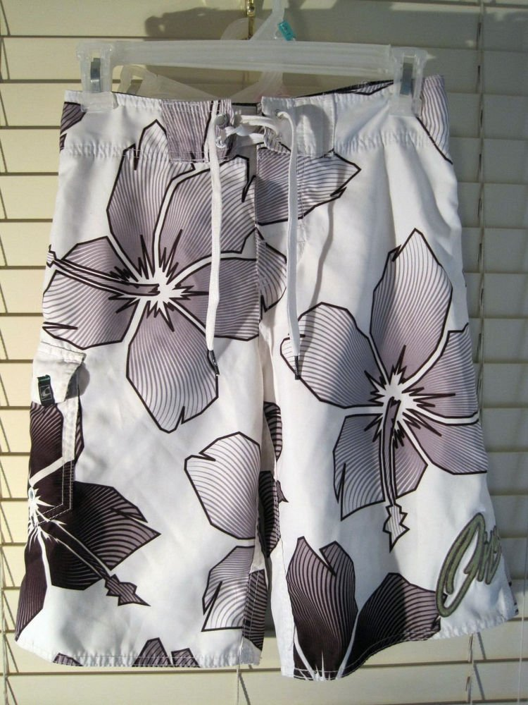 Boys O'NEILL White/Gray Surf Board Shorts Swim Trunks Suit Large 13-14 Oneill