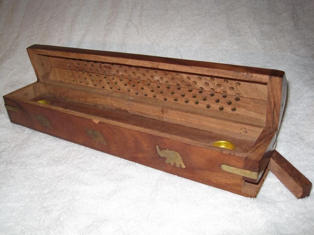 Incense Stick Holder Box Wood Hexagon Brass Elephants Burner