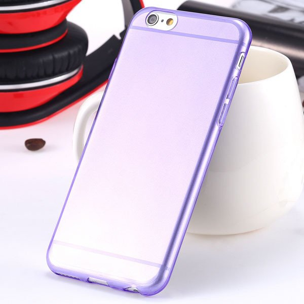 I6 Super Flexible Clear Tpu Case For Iphone 6 4.7Inch Slim Crystal 2024442787-11-Thin purple