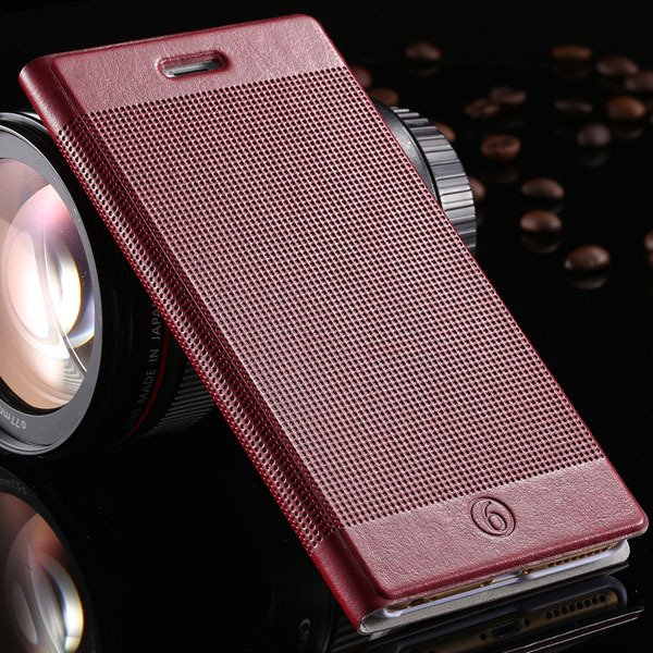 Popular Grid Structure Flip Wallet Shell For Iphone 6 Plus 5.5Inch 32214571519-10-Burgundy