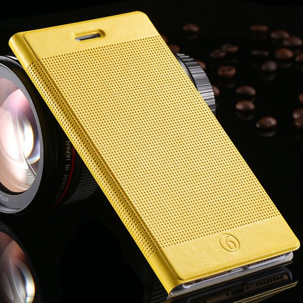 Popular Grid Structure Flip Wallet Shell For Iphone 6 Plus 5.5Inch 32214571519-11-yellow