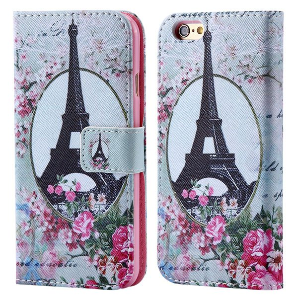 Luxury Mat Print Flip Cover For Iphone 6 4.7Inch Leather Case Stan 32247875125-1-flower tower