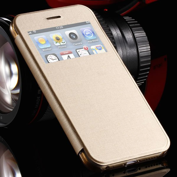 I6 Plus Window View Case For Iphone 6 Plus 5.5Inch Flip Pu Leather 32236780961-8-gold