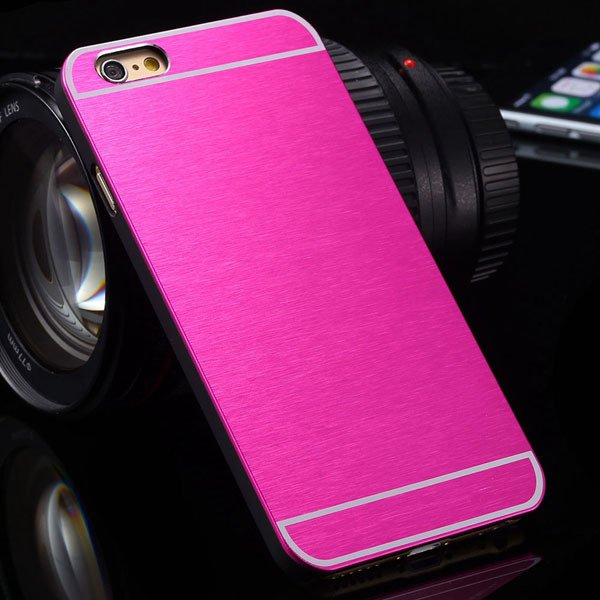 Newest Bling Aluminum Metal Brush Hard Cover For Iphone 6 Plus 5.5 32251042813-2-hot pink
