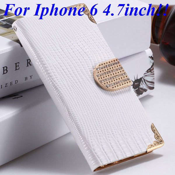 I6 Luxury Bling Diamond Case Flip Wallet Pu Leather Cover For Ipho 32232380276-2-white for iphone 6