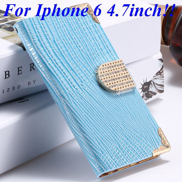 I6 Luxury Bling Diamond Case Flip Wallet Pu Leather Cover For Ipho 32232380276-4-blue for iphone 6
