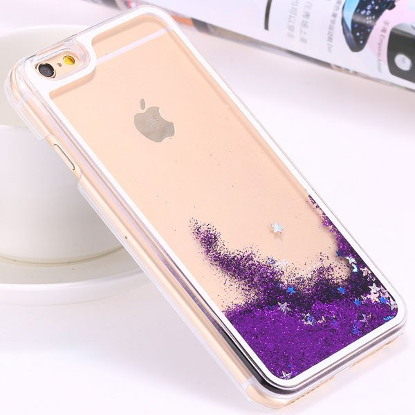 I6 Dynamic Quicksand Back Case Clear Cover Flow With Liquid Fish F 32277186221-3-star purple