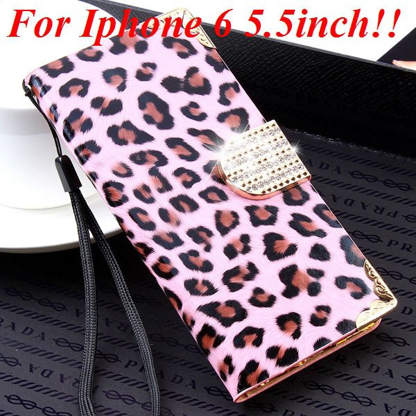 For Iphone 6 Bling Diamond Leather Case Flip Leopard Full Cover Fo 32258215017-7-pink for plus
