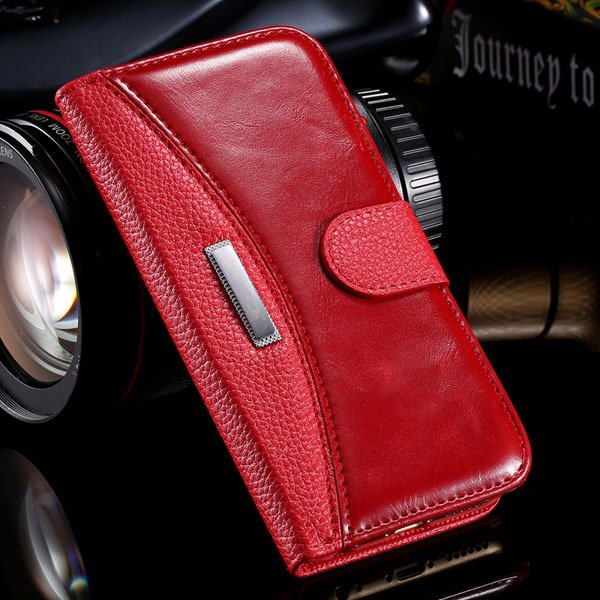 Business Flip Leather Case For Iphone 6 4.7Inch Full Cover Stand F 32250230341-3-red