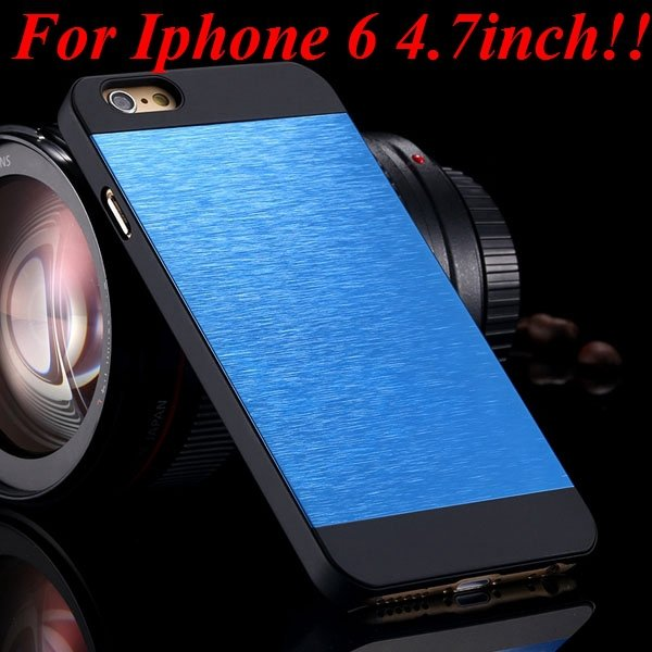 I6/6Plus Aluminum Shiny Metal Brush Hard Cover For Iphone 6 4.7Inc 32232320776-14-blue for iphone 6