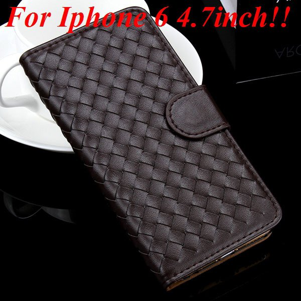 For Iphone 6 Leather Case Flip Weave Full Cover For Iphone 6 4.7In 32257737480-1-coffee for iphone 6