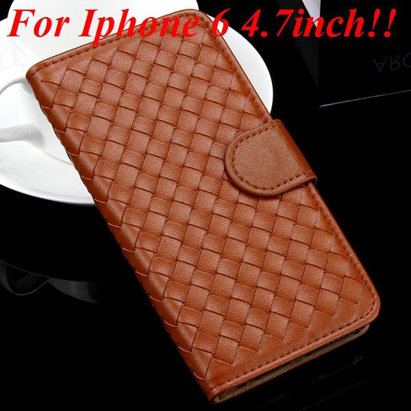 For Iphone 6 Leather Case Flip Weave Full Cover For Iphone 6 4.7In 32257737480-6-brown for iphone 6