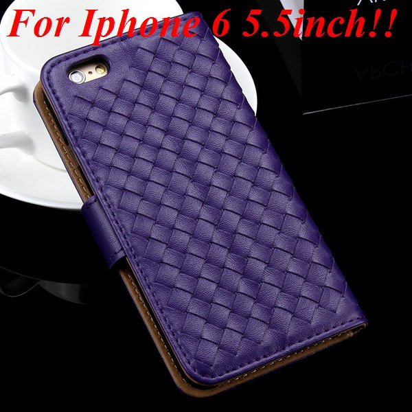 For Iphone 6 Leather Case Flip Weave Full Cover For Iphone 6 4.7In 32257737480-10-purple for plus