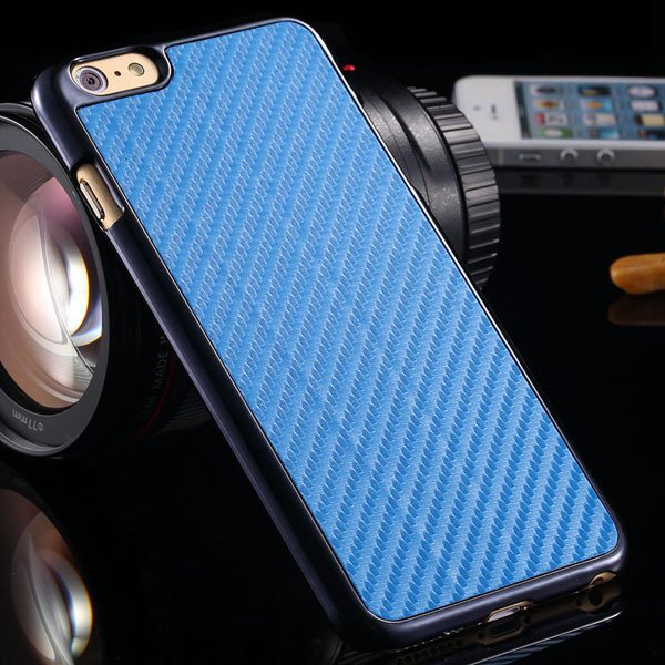 I6 Carbon Fiber Slim Hard Cover For Iphone 6 4.7Inch Back Case Wit 32251706070-3-sky blue