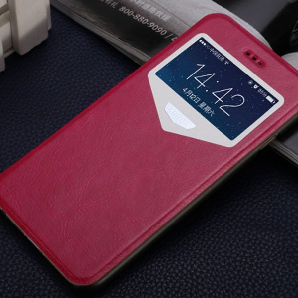 Super Thin Full Cover For Iphone 6 4.7Inch Pu Leather Window View  32216312142-5-hot pink