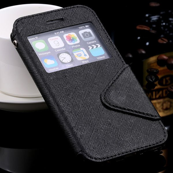 Window Display View Cover For Iphone 6 4.7Inch Pu Leather Case Sta 32254734262-2-black for iphone 6