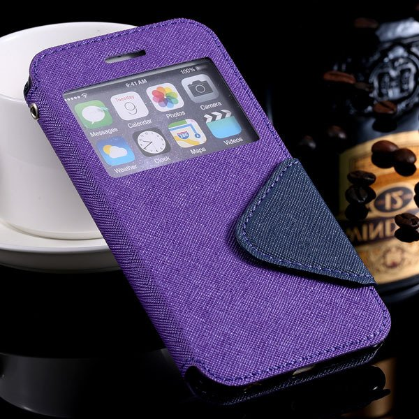 Window Display View Cover For Iphone 6 4.7Inch Pu Leather Case Sta 32254734262-5-purple for iphone 6