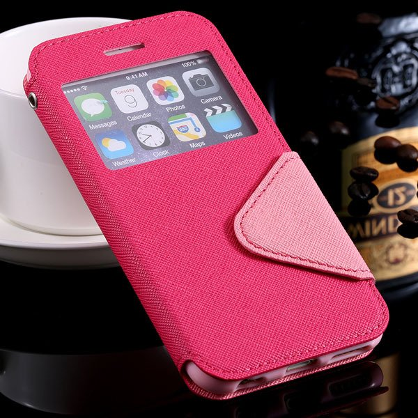 I6 Plus Flip Case Pu Leather Window Cover For Iphone 6 Plus 5.5Inc 32272022930-4-hot pink