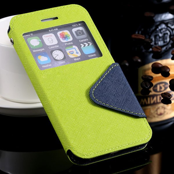 I6 Plus Flip Case Pu Leather Window Cover For Iphone 6 Plus 5.5Inc 32272022930-5-green