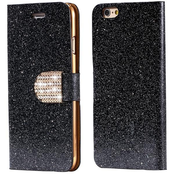 Bling Shiny Diamond Full Case For Iphone 6 Plus 5.5Inch Leather Ph 32246570657-7-black