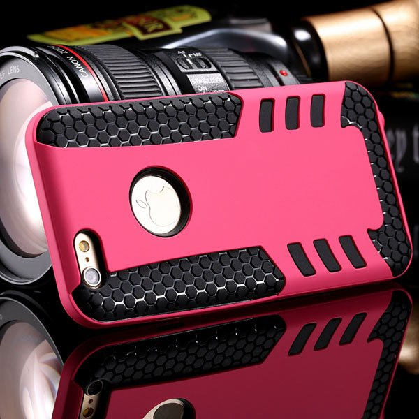 Anti-Knock Rocket Back Case For Iphone 6 4.7Inch Hard Pc Frame + S 32249540997-2-hot pink