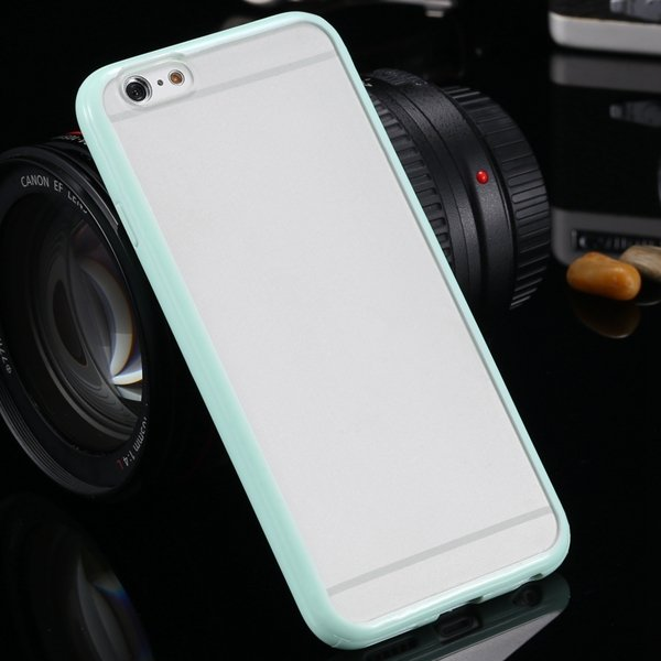 I6 Candy Color Case Fashion Mat Pc + Tpu Frame Clear Cover For Iph 32303226521-2-mint green