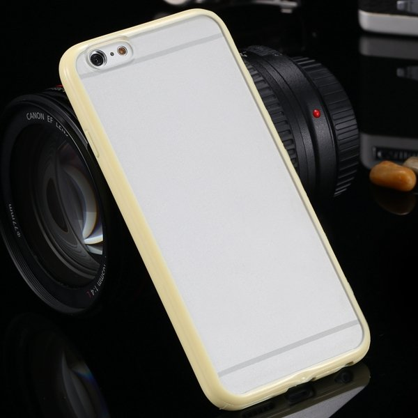 I6 Candy Color Case Fashion Mat Pc + Tpu Frame Clear Cover For Iph 32303226521-4-yellow