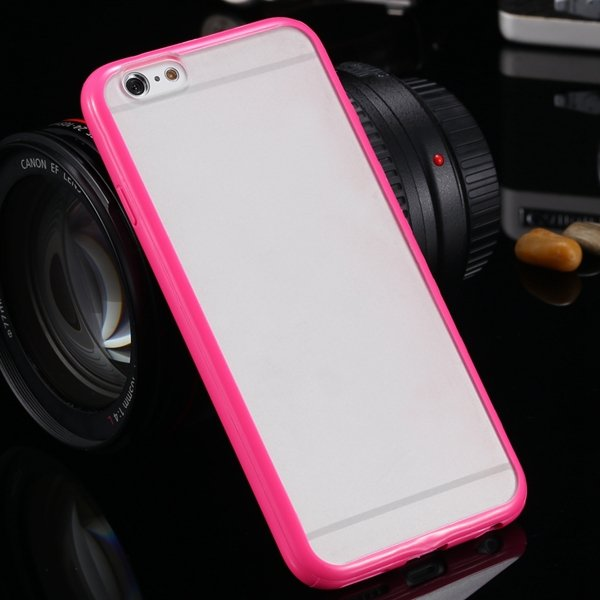I6 Candy Color Case Fashion Mat Pc + Tpu Frame Clear Cover For Iph 32303226521-6-rose