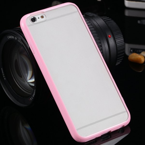 I6 Candy Color Case Fashion Mat Pc + Tpu Frame Clear Cover For Iph 32303226521-7-pink