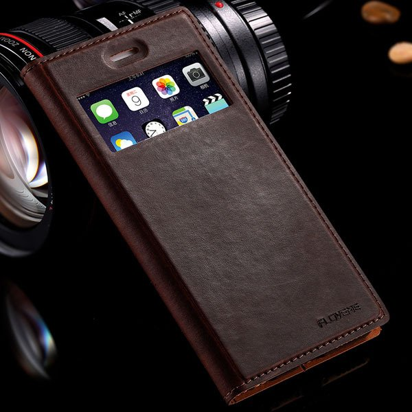 I6 Luxury Retro Genuine Leather Case Window View Cover For Iphone  32291460674-1-brown