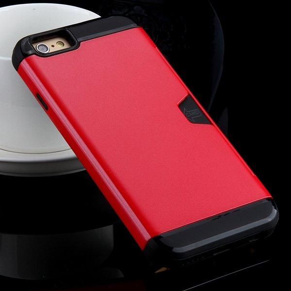 I6 Slim Case Hard Pc + Soft Tpu Back Cover With Card Slot Stand Fo 32275777854-1-red