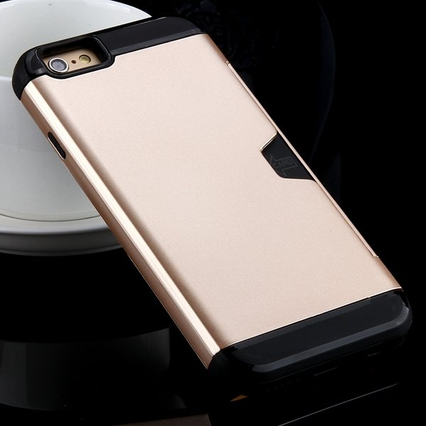 I6 Slim Case Hard Pc + Soft Tpu Back Cover With Card Slot Stand Fo 32275777854-5-gold