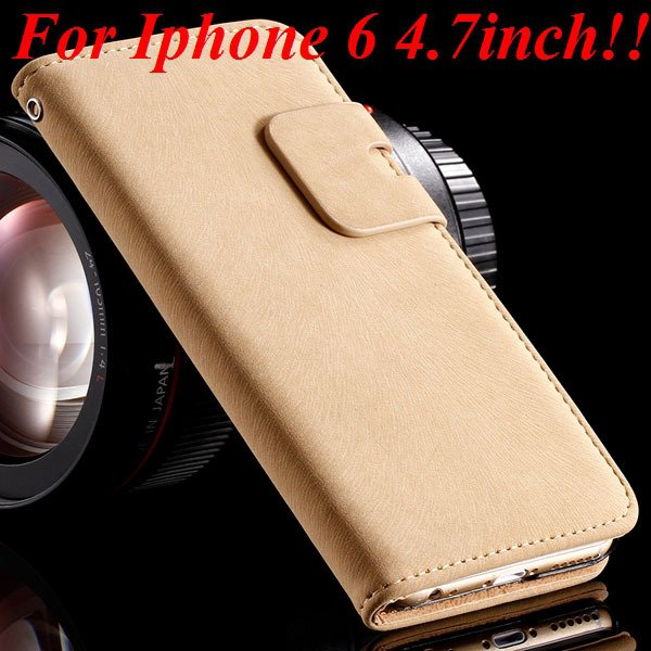 I6 Flip Case Luxury Smooth Pu Leather Cover For Iphone 6 4.7Inch F 32235574059-4-beige